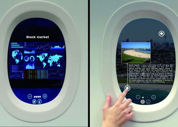 Французская компания превратила иллюминатор самолета всенсорный планшет