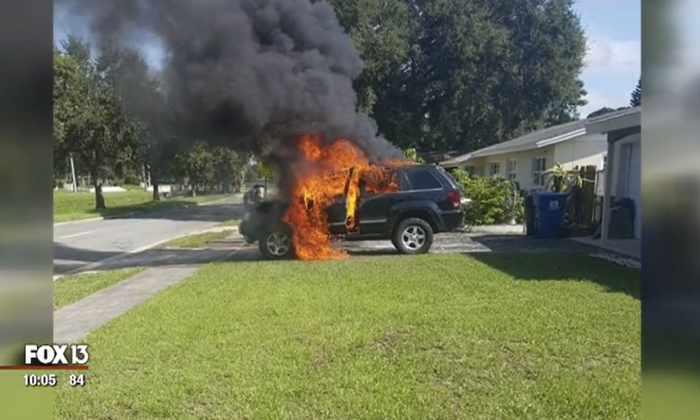 Во Флориде из-за взрыва Samsung Galaxy Note 7 сгорел джип