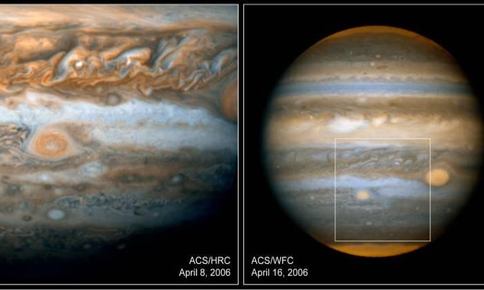 «Юнона» засняла красное пятно Юпитера с максимально близкого расстояния