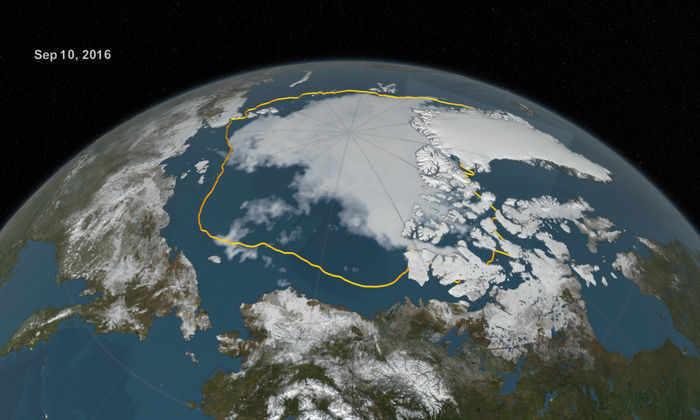 Площадь льда в Арктике достигла исторического минимума